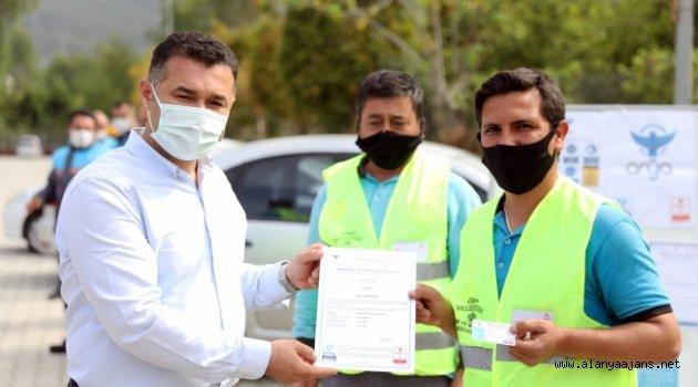 Alanya Belediyesi işçileri sertifika aldı