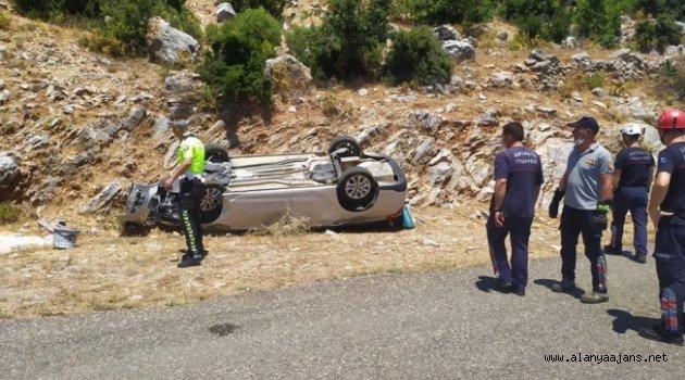 Alanya'da otomobil 20 metreden uçtu: 1 ölü