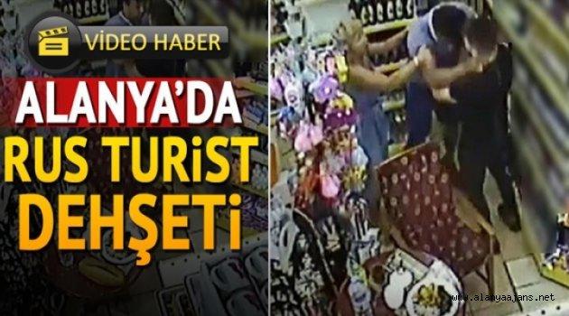Rus turist, girdiği markette adeta terör estirdi