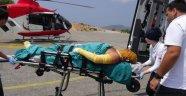 Yaralı helikopterle sevk edidli