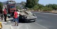Alanya'da otomobil takla attı, sürücünün burnu bile kanamadı
