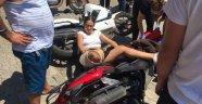 Gaz kolu takılı kalan motosiklet sürücüsü ölümden döndü